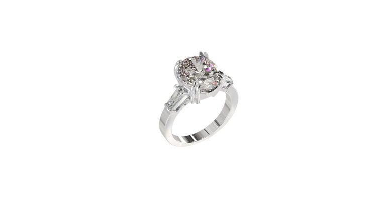 IGI Certified 3 Carat Oval Cut Diamond Ring For Sale 8