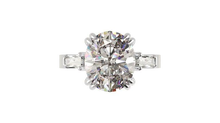 Modern IGI Certified 3 Carat Oval Cut Diamond Ring For Sale
