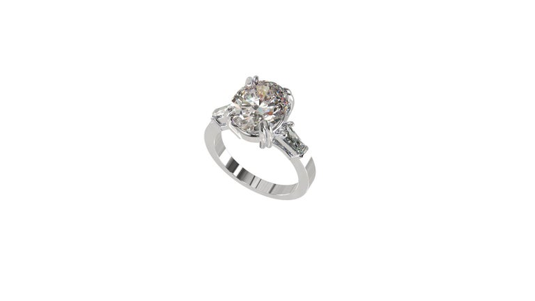 IGI Certified 3 Carat Oval Cut Diamond Ring In New Condition For Sale In Rome, IT