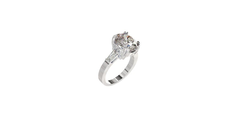 IGI Certified 3 Carat Oval Cut Diamond Ring For Sale 2