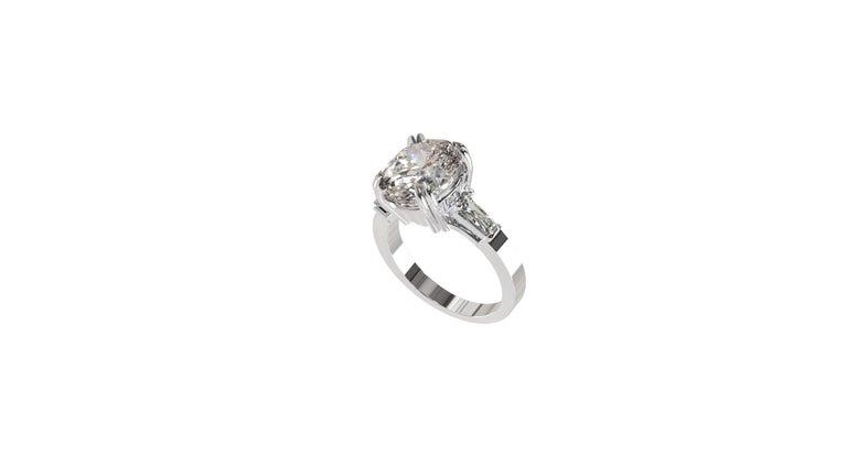 IGI Certified 3 Carat Oval Cut Diamond Ring For Sale 3