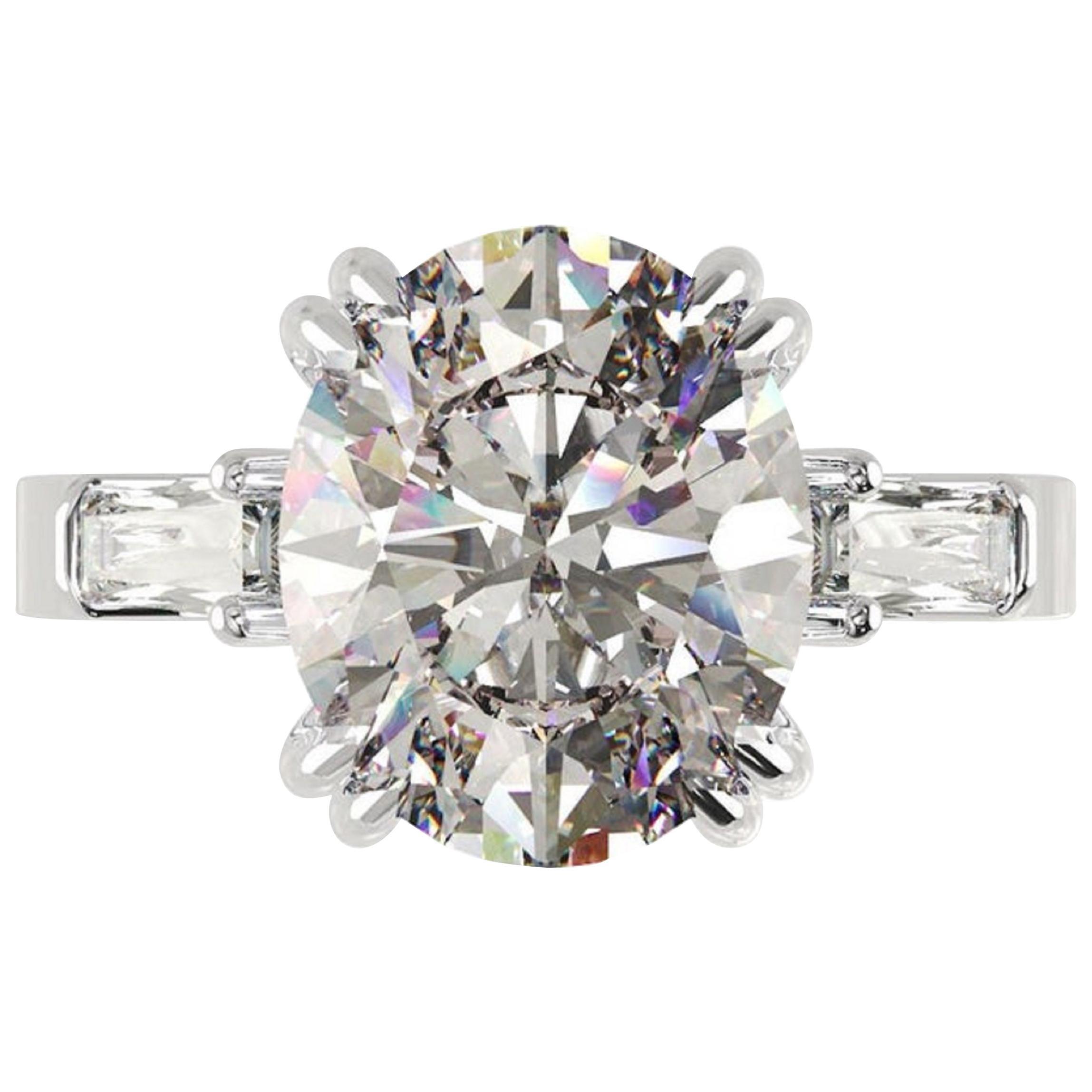 IGI Certified 3 Carat Oval Cut Diamond Ring