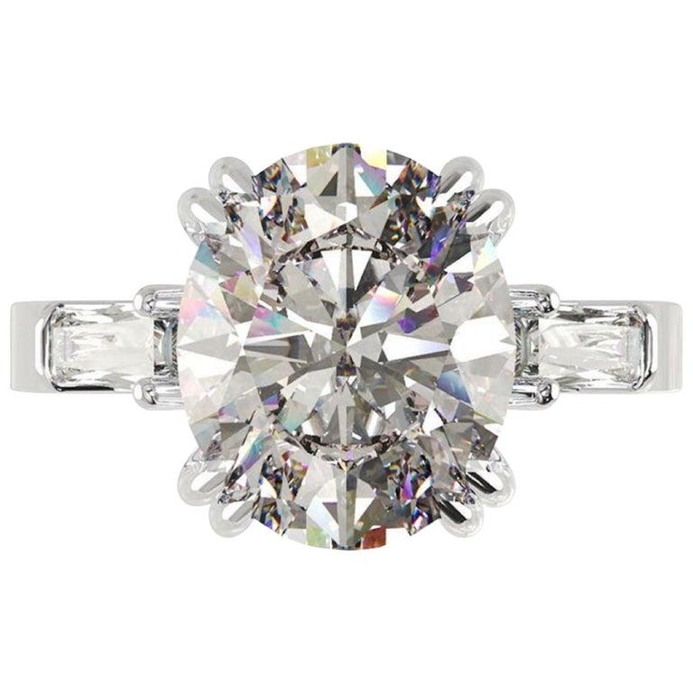 IGI Certified 3 Carat Oval Cut Diamond Ring For Sale
