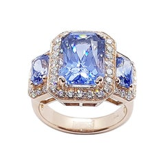 GIA Certified 5 Cts Blue Sapphire with Diamond Ring in 18 Karat Rose Gold