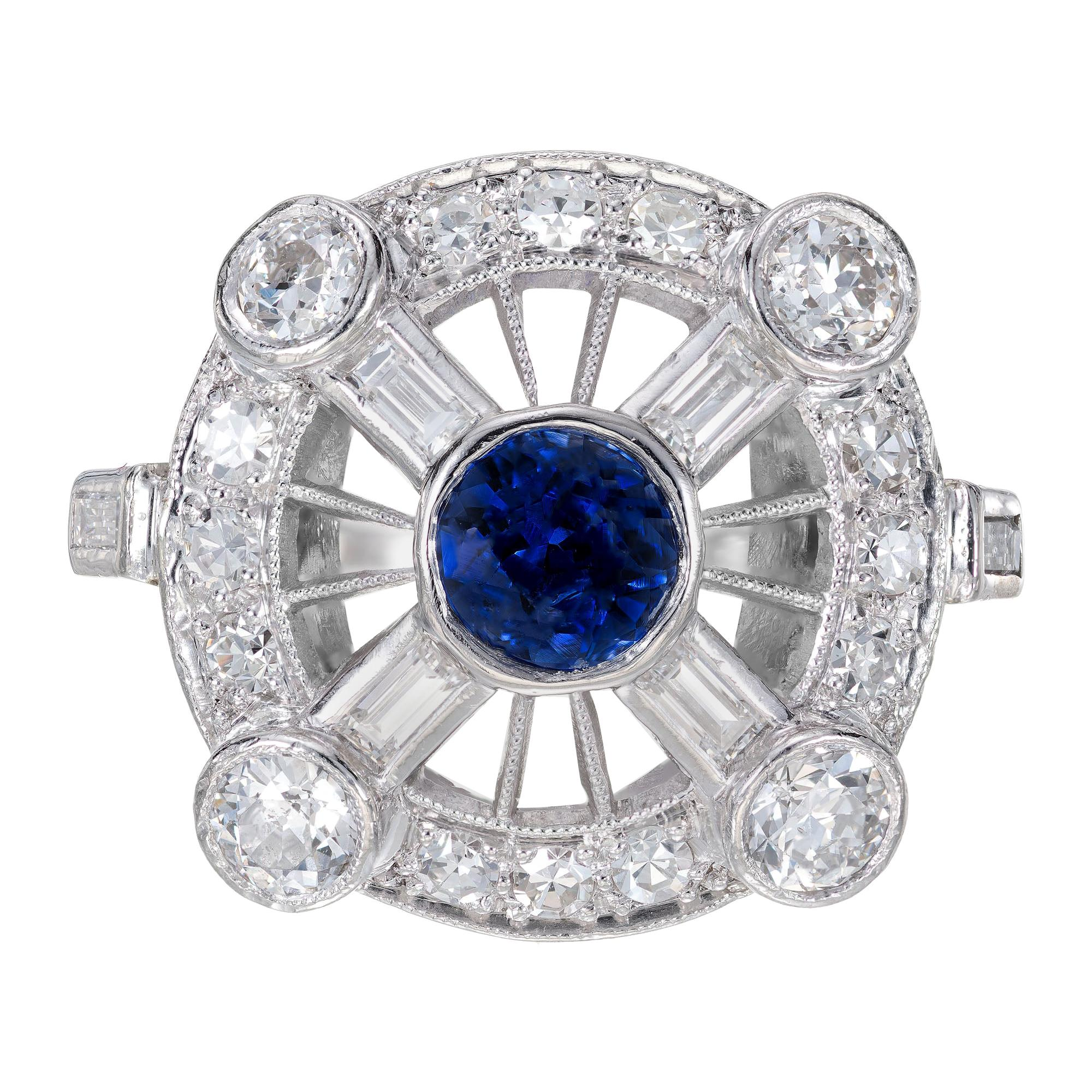 GIA Certified .50 Carat Sapphire Diamond Halo Midcentury Platinum Ring