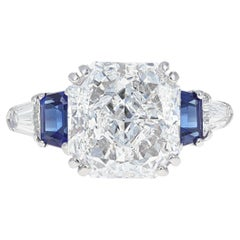GIA Certified, 5.00 Carat Radiant Cut Diamond and Sapphire Engagement Ring