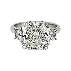 GIA Certified 5.00 Carat Radiant Cut Diamond Three-Stone Ring