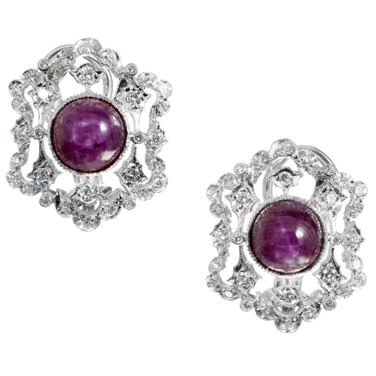 GIA Certified 5.00 Carat Ruby Diamond White Gold Earrings