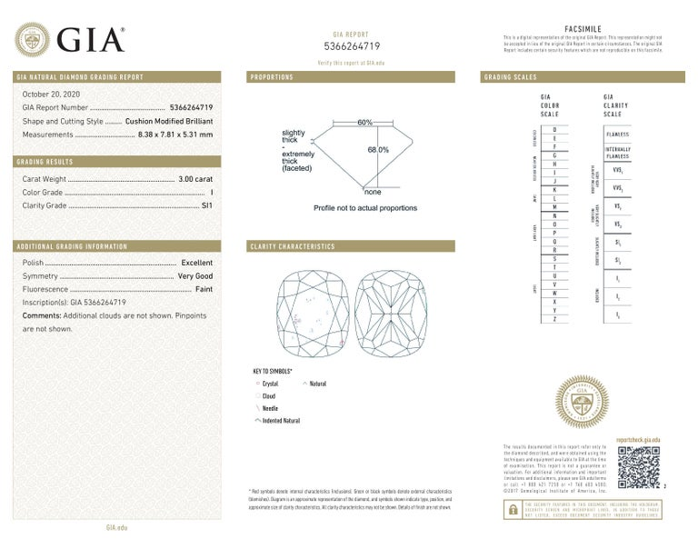 GIA Certified 4 Carat Cushion Cut Diamond I Color Triple Ex In New Condition For Sale In Rome, IT