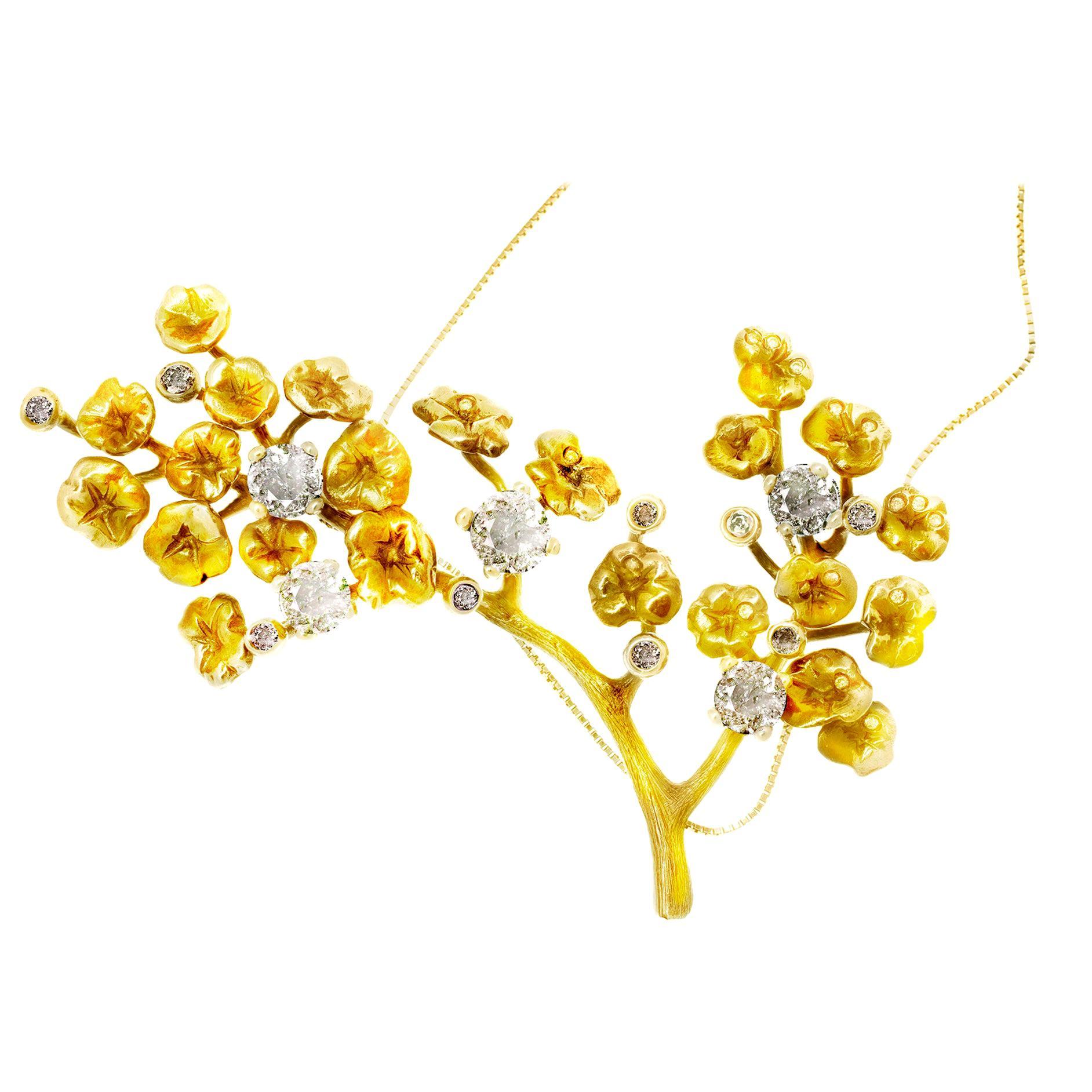 GIA Certified 5.01 Carat Diamonds, 18 Karat Gold Pendant Necklace
