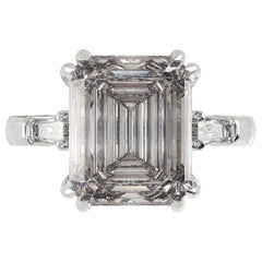 GIA Certified 3.50 Carat Emerald Cut Engagement Platinum Ring D Color VS2