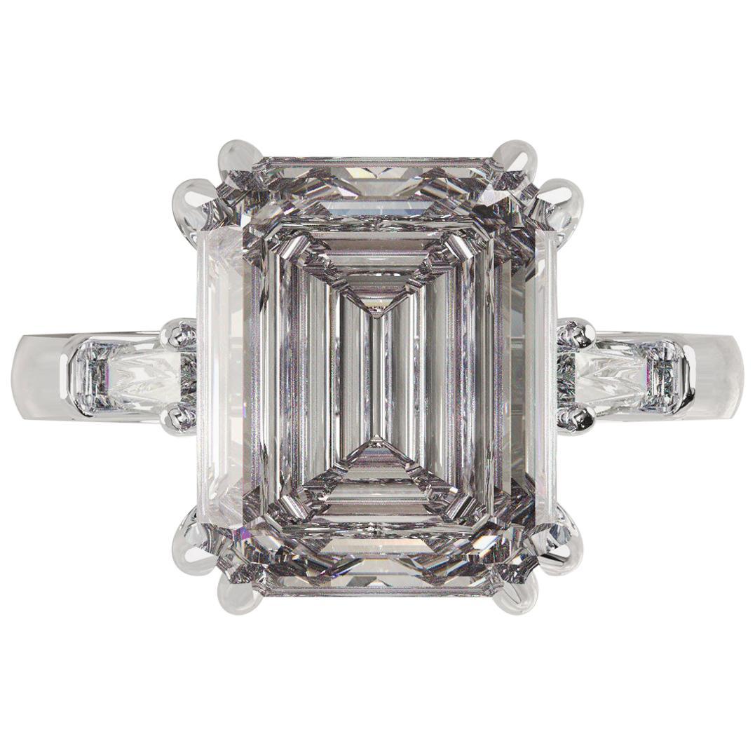GIA Certified 3.50 Carat Emerald Cut Diamond Ring I Color VS2 Clarity