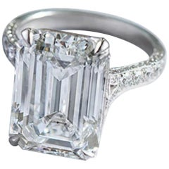GIA Certified 3.75 Carat Emerald Cut Diamond Ring H Color Internally Flawless