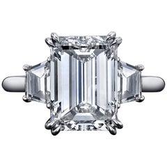 GIA Certified 5.01 Carat Emerald Cut Diamond Ring