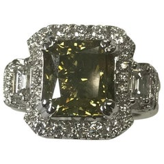 GIA Certified 5.01 Carat Natural Fancy Dark Yellow Cushion Diamond Ring 18K Gold