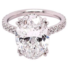 GIA Certified 5.01 Carat Oval Diamond Engagement Ring