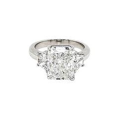 GIA Certified 5.01 Carat Radiant Cut 3-Stone Ring