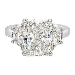 GIA Certified 5.01 Carat Radiant Cut Diamond Three-Stone Engagement Ring