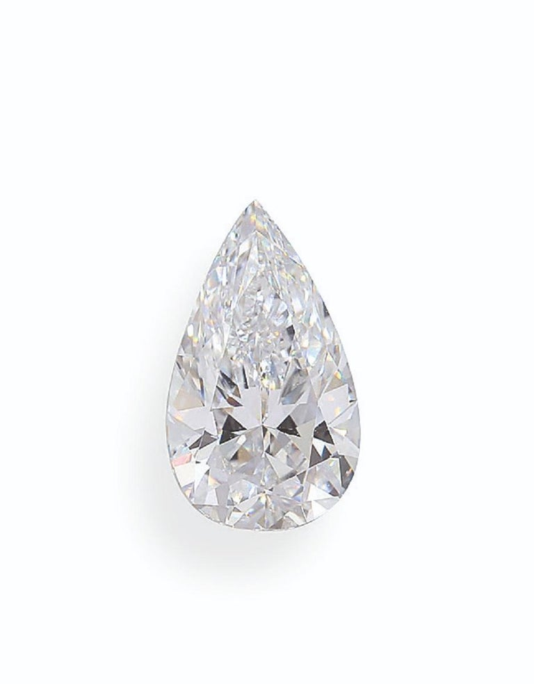 Modern GIA Certified 5 Carat Pear Cut Diamond Platinum Ring  For Sale