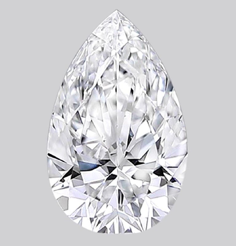 GIA Certified 5 Carat Pear Cut Diamond Platinum Ring  In New Condition For Sale In Rome, IT