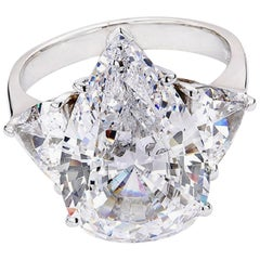 GIA Certified 5 Carat Pear Cut Diamond Platinum Ring