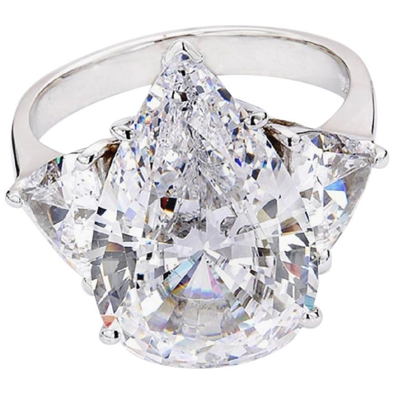 GIA Certified 5 Carat Pear Cut Diamond Platinum Ring  For Sale