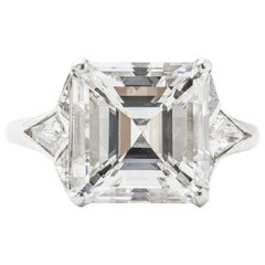 GIA Certified 5.01 E VS2 Asscher Cut Diamond Engagement Ring