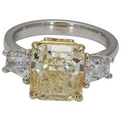 GIA Certified Fancy Light Yellow Radiant & White Diamond Trap 5.72 TW Plat & 18K