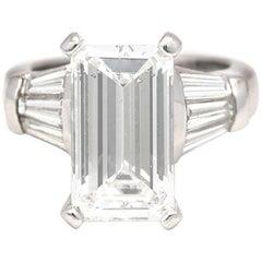 GIA Certified 5.02 Carat Emerald Cut Diamond Ring
