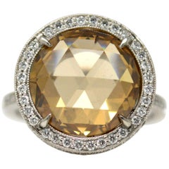 GIA Certified 5.02 Carat Fancy Yellow- Brown Rose Cut Round Diamond Ring