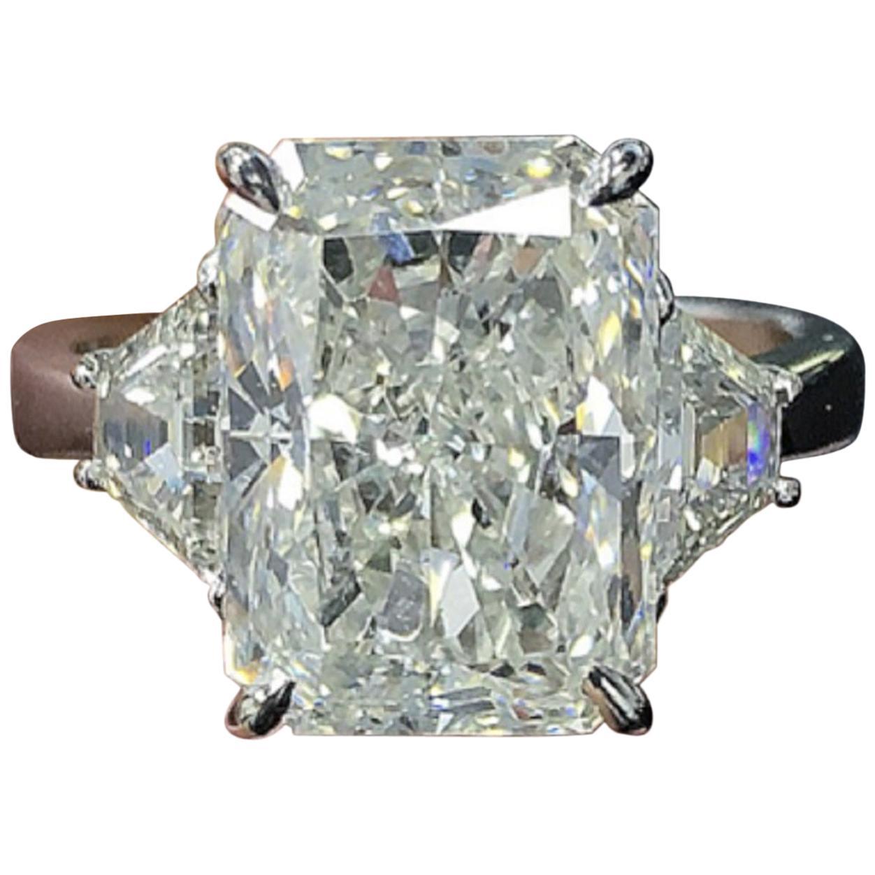 GIA Certified 3.50 Carat Long Radiant Cut Diamond Ring Triple Excellent Cut