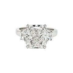 GIA Certified 5.02 Carat Radiant Cut Diamond Three Stone Ring