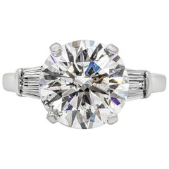 GIA Certified 5.02 Carat Round Diamond Three-Stone Engagement Ring