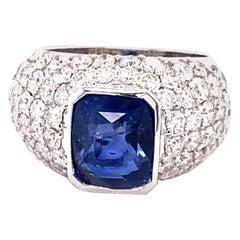 GIA Certified 5.03 Carat Natural Ceylon Blue Sapphire 14 Karat White Gold Ring