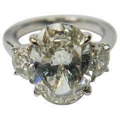 GIA Certified 5.03 Carat Oval Shape Platinum Diamond Ring