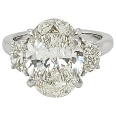 GIA Certified 5.03 Carat Oval Shape Platinum Diamond Ring