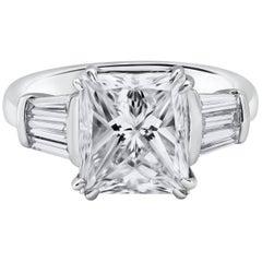 GIA Certified 5.03 Carat Princess Cut Diamond Engagement Ring