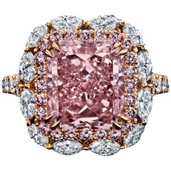 GIA Certified 5.03 Carat Radiant Fancy Light Pink Diamond Ring