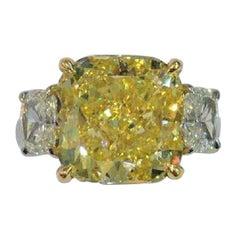 GIA Certified 5.03 'Main Stone' Carat Fancy Intense Yellow Diamond Ring