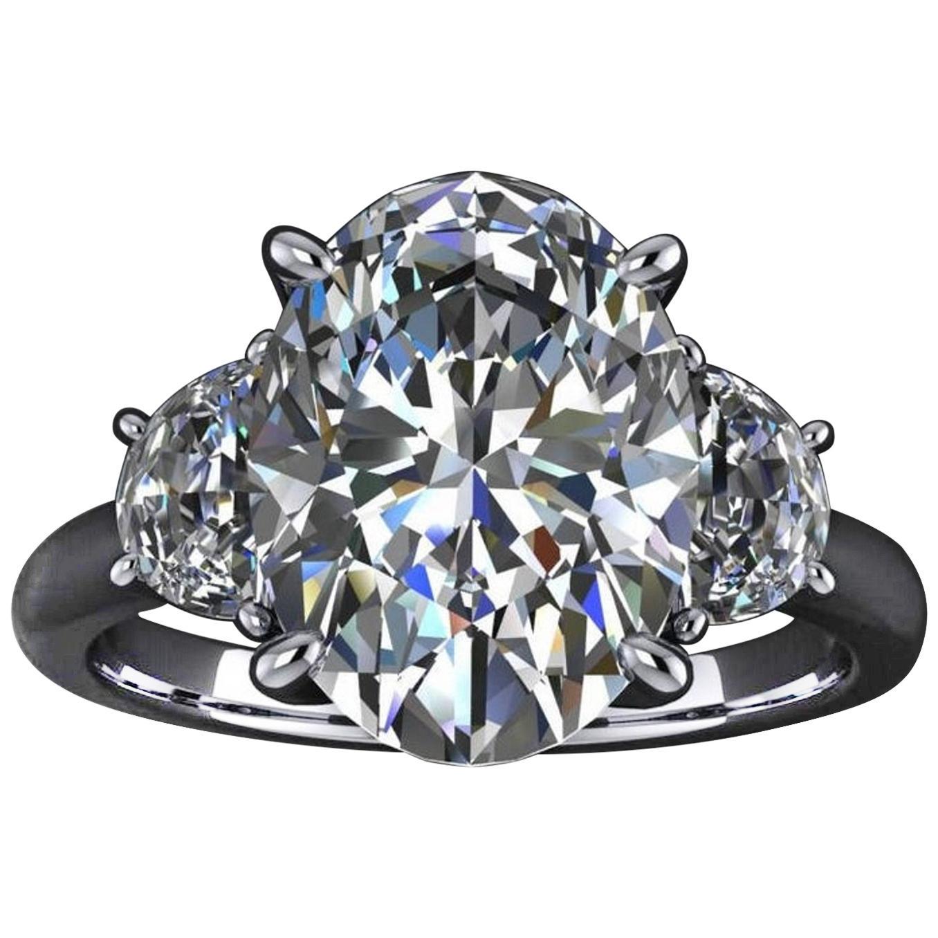GIA Certified 4.75 Carat Oval Diamond 100% Eye Clean Ring
