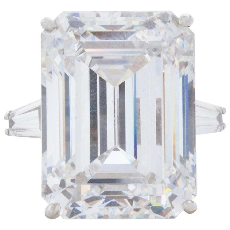 GIA Certified 4.50 Carat Emerald Cut Diamond Ring VVS1 G Color For Sale