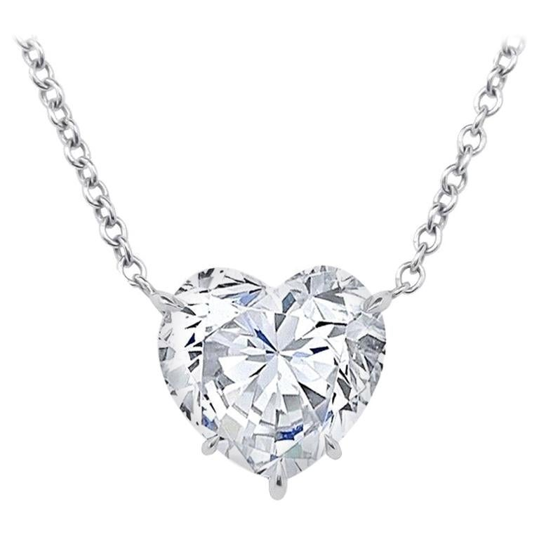 GIA Certified 5.04 Carat Heart Shape Diamond Pendant Necklace For Sale