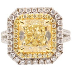GIA Certified 5.04 Carat Yellow Radiant Cut Diamond Double Halo 18K Gold Ring
