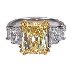 GIA Certified 5.04 Fancy Yellow Radiant Cut Diamond Engagement Ring