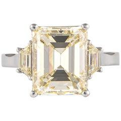 GIA Certified 5.05 Carat Emerald Cut Diamond Three-Stone Ring 18 Karat