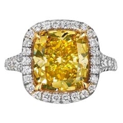 GIA Certified 5.05 Carat Vivid Yellow Cushion Cut Diamond Ring
