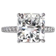 GIA Certified 5.05 Cushion JSI2 Platinum Diamond Ring
