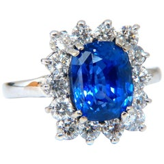 GIA Certified 5.05 Carat Natural No Heat Color Change Sapphire Diamonds Ring