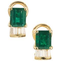 GIA Certified 5.06 Carat Emerald Diamond 18 Karat Yellow Gold Clip Post Earrings
