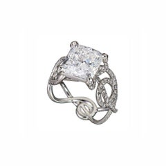 GIA Certified 5.06 Carat F/VS1 Diamond Cushion Cut Engagement Ring
